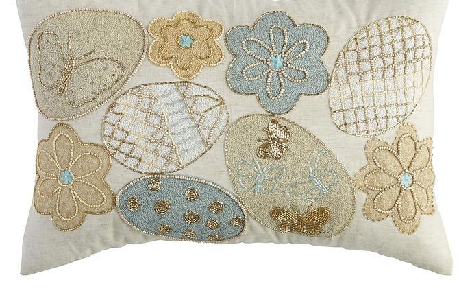 WEB Beaded Egg Pillow Blue Gold  45.95 1