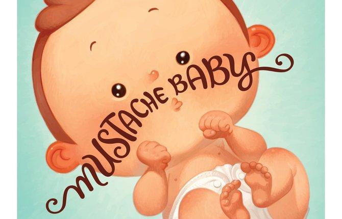 bookshelf Mustache Baby 1